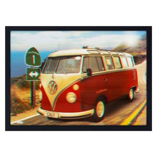Quadro Poster 3D Kombi Antiga Vermelha e Branca 70x50cm