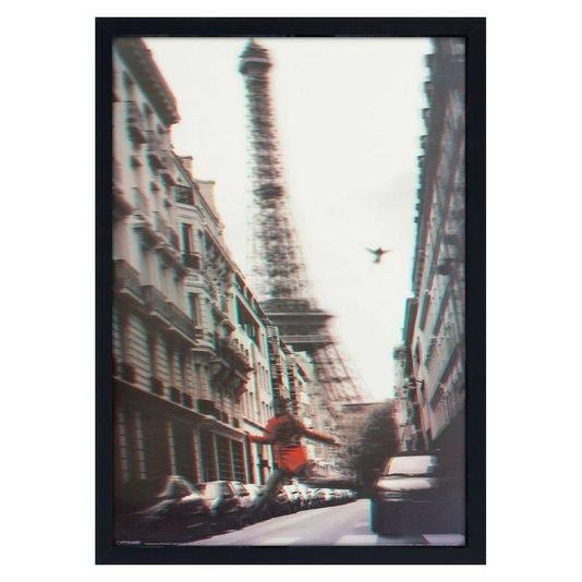 Quadro 3D Mulher de Vermelho Pulando na Rua Torre Eiffel 50x70cm