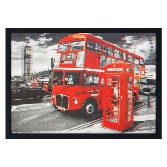Quadro 3D Poster Ônibus e Cabine Telefônica de Londres 70x50cm