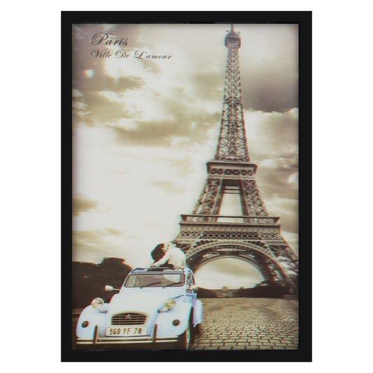 Quadro Decorativo Poster 3D Paris a Cidade do Amor Torre Eiffel 50x70cm