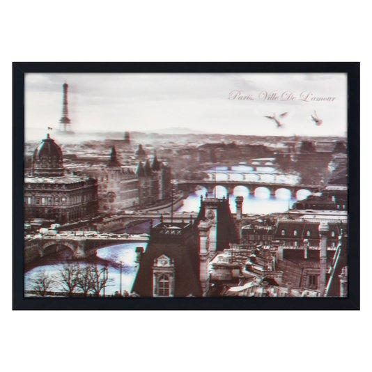 Quadro Decorativo Poster 3D Paris Ville de Lamour Rio Azul 70x50cm