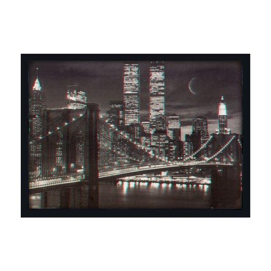 Quadro Decorativo Poster 3D Ponte de Manhattan Nova York 70x50cm