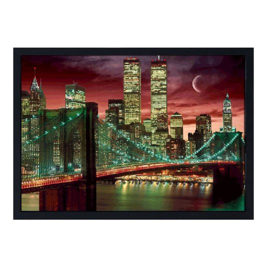 Quadro Decorativo Poster 3D Ponte Manhattan New York Noite 70x50cm