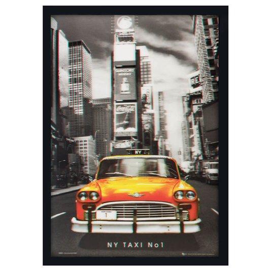 Quadro Decorativo Poster 3D Táxi Amarelo de New York Nº 1 - 50x70cm