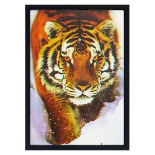 Quadro Decorativo Poster 3D Tigre Andando Sobre a Neve 50x70cm