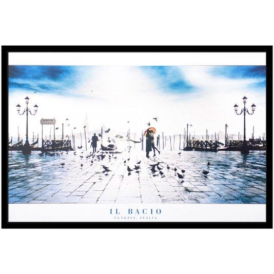 Quadro Decorativo Poster Beijo em Veneza s/ Vidro 90x60cm
