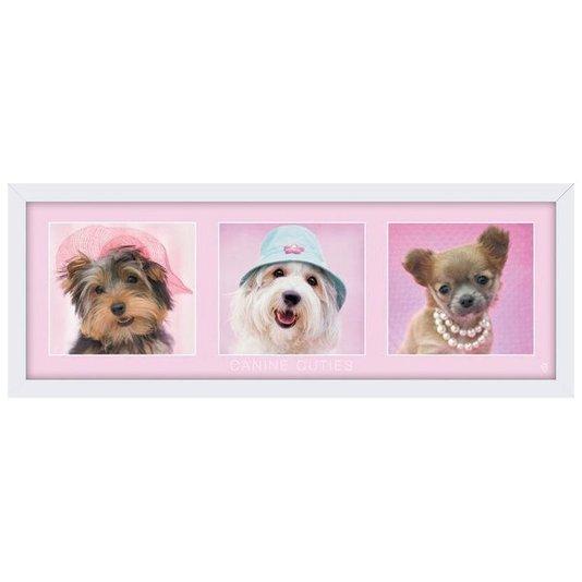 Quadro Decorativo Poster Cachorros Fofos s/ Vidro 90x30cm