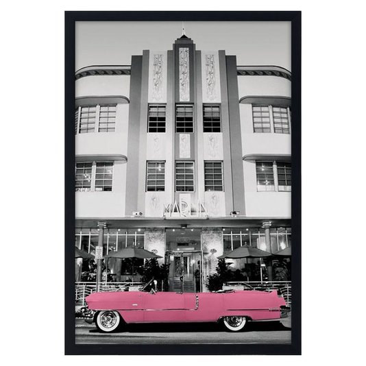 Quadro Decorativo Poster Carro Antigo Cadillac Rosa s/ Vidro 60x90cm