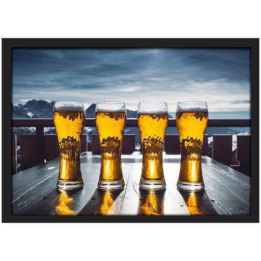 Quadro Imagem com Moldura Beer Copos de Cervejas com Vidro 30x20 cm