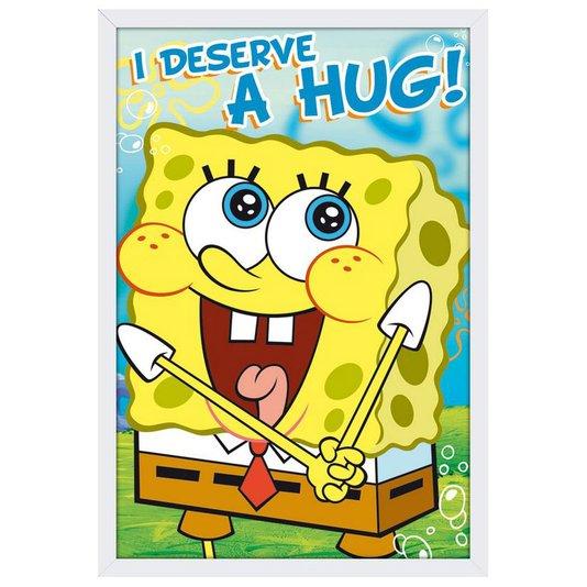 Quadro Decorativo Poster com Moldura Bob Esponja I Deserve A Hug! 60x90cm