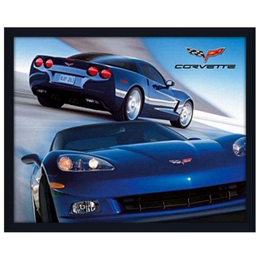 Quadro Decorativo Poster com Moldura Carro Esportivo Corvette Azul 50x40cm