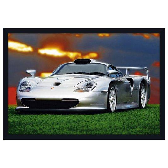 Quadro Decorativo Poster com Moldura Carro Esportivo Porsche com Vidro 94x64cm