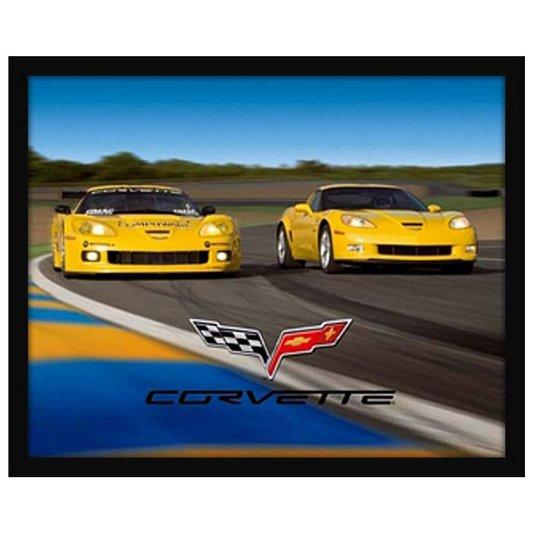 Quadro Decorativo Poster com Moldura Carros Esportivos Corvette 50x40cm
