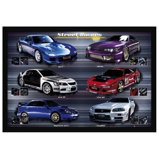 Quadro Decorativo Poster com Moldura Carros Tunados Street Racers 94x64cm