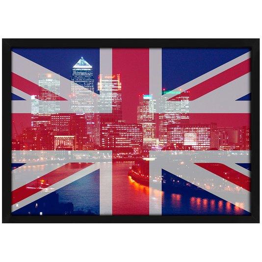 Quadro Poster com Moldura e Vidro Bandeira Londres 30x20 cm