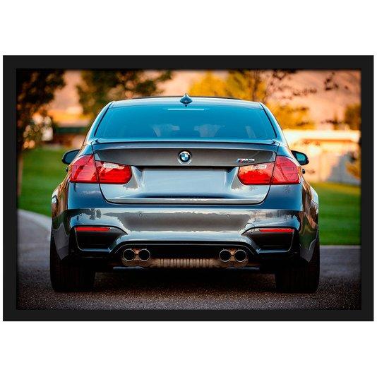 Quadro Poster com Moldura e Vidro BMW M3 Traseira 30x20 cm