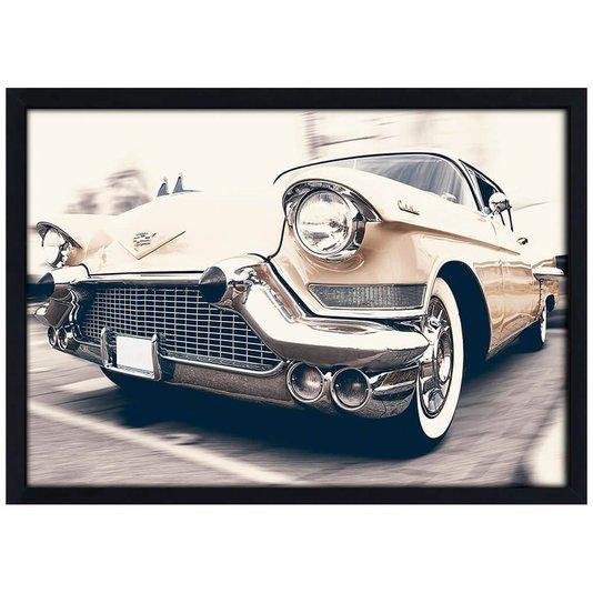 Quadro Poster com Moldura e Vidro Cadillac Carro Clássico 30x20 cm