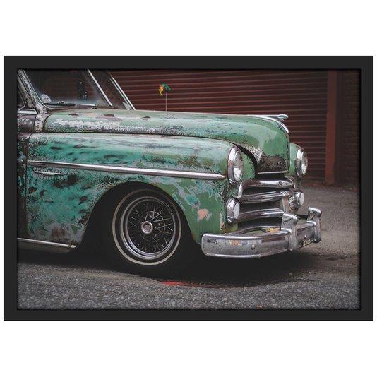 Quadro Poster com Moldura e Vidro Carro Clássico Antigo 30x20 cm