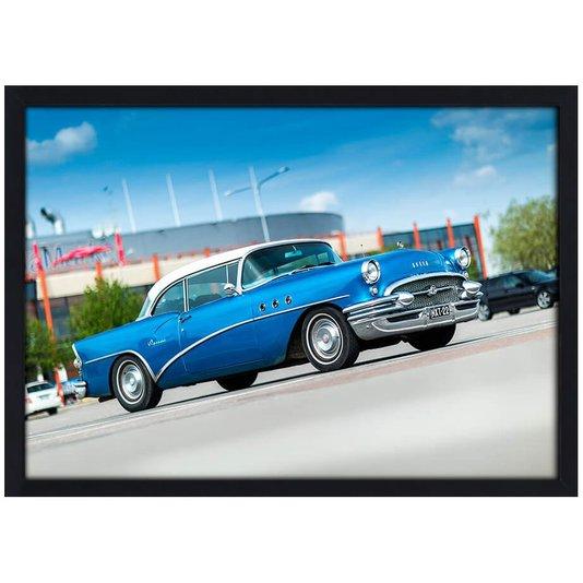 Quadro Poster com Moldura e Vidro Carro Clássico Buick Azul 30x20 cm