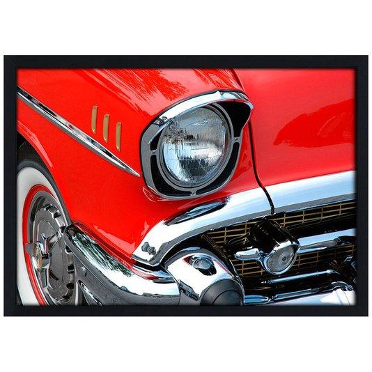 Quadro Poster com Moldura e Vidro Carro Clássico Vermelho 30x20 cm