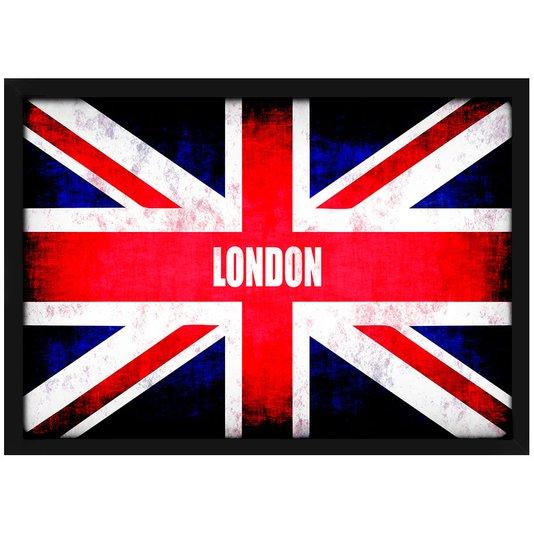 Quadro Imagem com Moldura e Vidro London Bandeira 30x20 cm