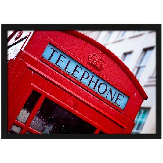 Quadro Poster com Moldura e Vidro Londres Cabine Telefônica 30x20 cm