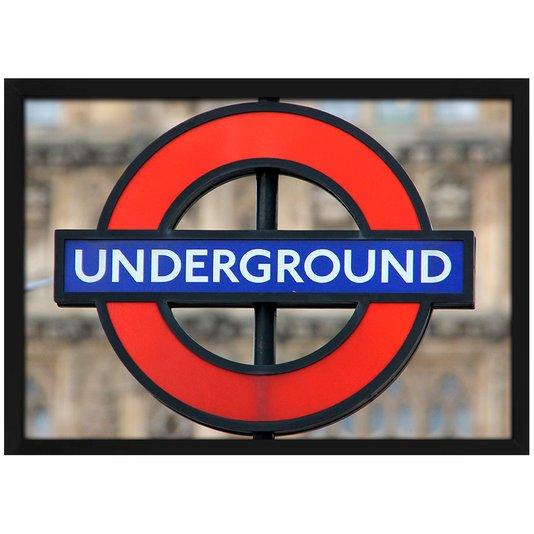 Quadro Poster com Moldura e Vidro Londres Placa Underground Metrô 30x20 cm