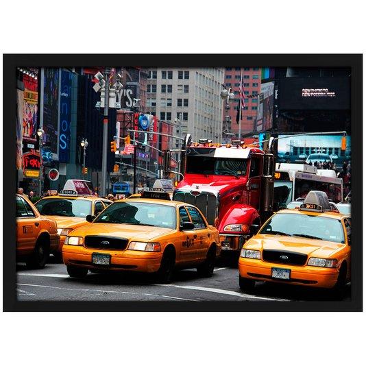 Quadro Poster com Moldura e Vidro Táxis Amarelos de Nova York 30x20 cm