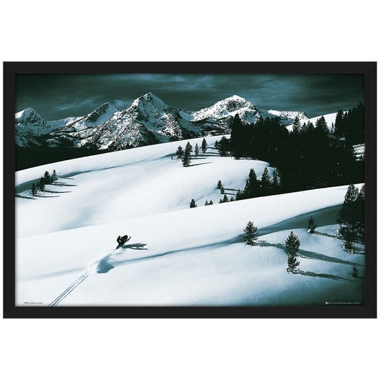 Quadro Decorativo Poster com Moldura Esportes na Neve Snowmobile 94x64cm