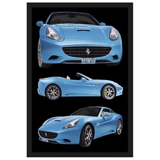 Quadro Decorativo Poster com Moldura Ferrari Azul 60x90cm