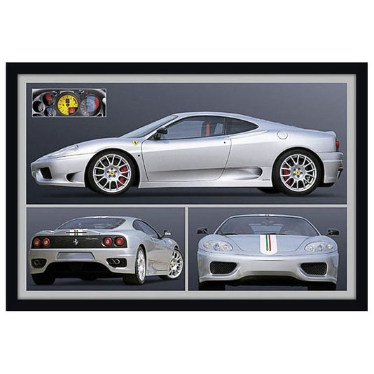 Quadro Decorativo Poster com Moldura Ferrari Prata 94x64cm