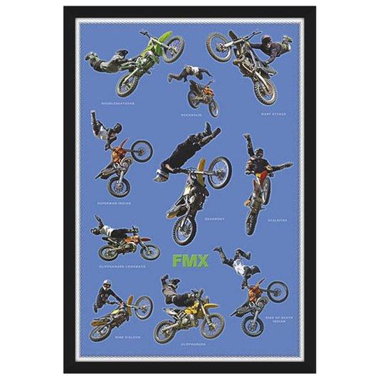 Quadro Decorativo Poster com Moldura FMX Motocross 60x90cm