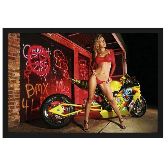 Quadro Decorativo Poster com Moldura Modelo com Moto 94x64cm
