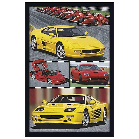 Quadro Decorativo Poster com Moldura Modelos de Carros Ferrari 60x90cm