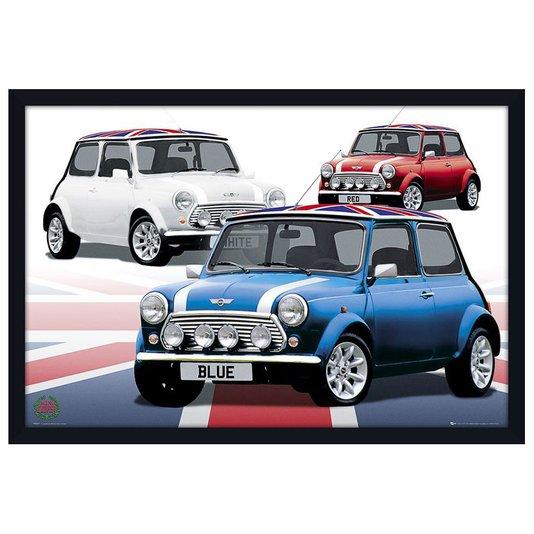 Quadro Decorativo Poster com Moldura Modelos de Carros Mini Cooper 94x64cm