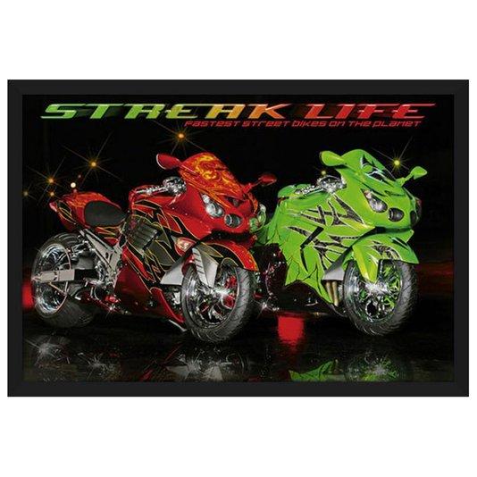 Quadro Decorativo Poster com Moldura Motos Esportivas Streak Life 94x64cm