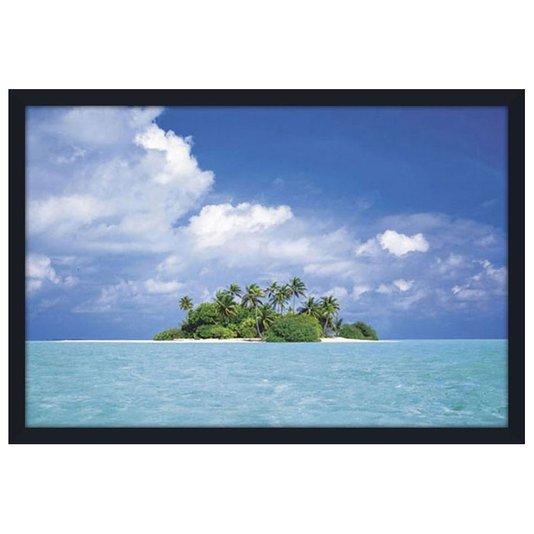 Quadro Decorativo Poster com Moldura Paisagem Mar Azul com Ilha 94x64cm