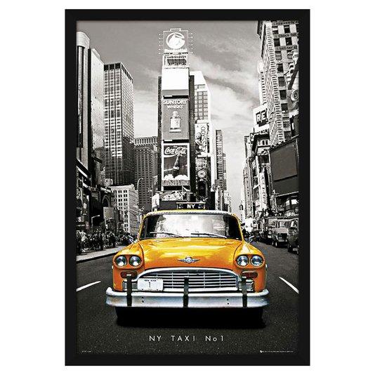 Quadro Decorativo Poster com Moldura Táxi Nº 1 de Nova York 60x90cm