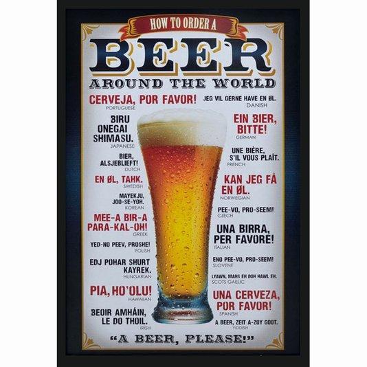 Quadro Decorativo Poster Como Pedir Cerveja em Todo o Mundo s/ Vidro 60x90cm