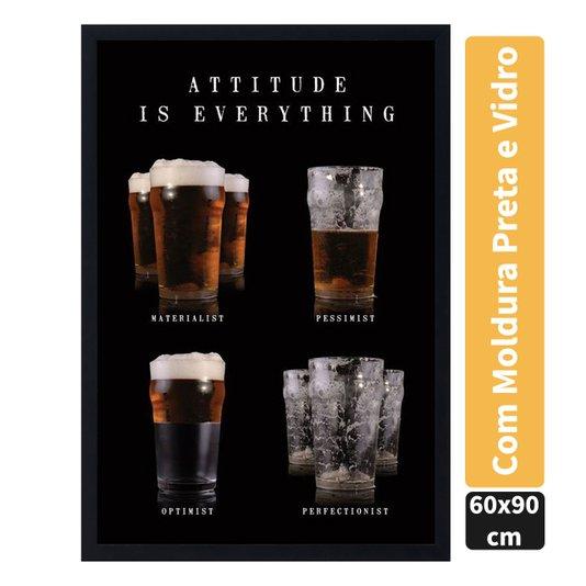 Quadro Decorativo Poster Copos de Cerveja Atitude é Tudo c/ Vidro 60x90cm