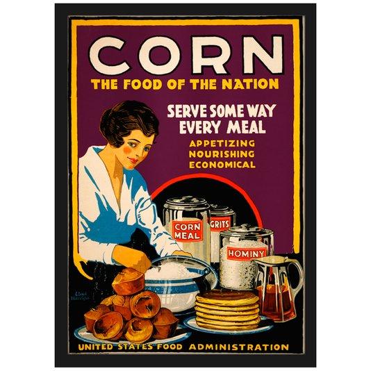 Quadro Poster Corn The Food of The Nation com Vidro 20x30cm