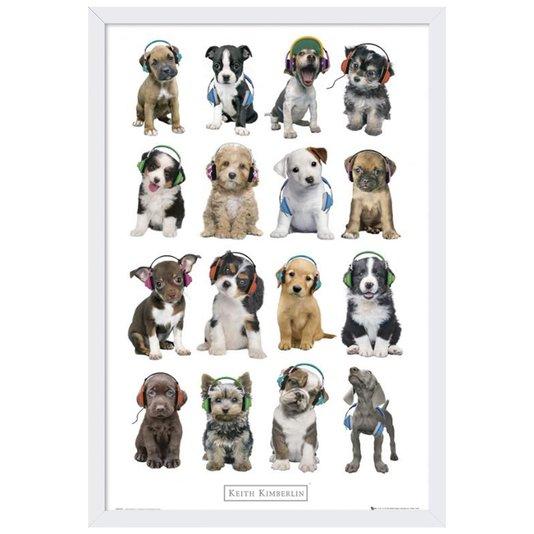 Quadro Decorativo Poster Dogs com Fone de Ouvido s/ Vidro 60x90cm