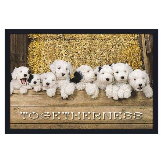 Quadro Decorativo Poster Dogs Filhotes Brancos com Manchas Pretas 90x60cm