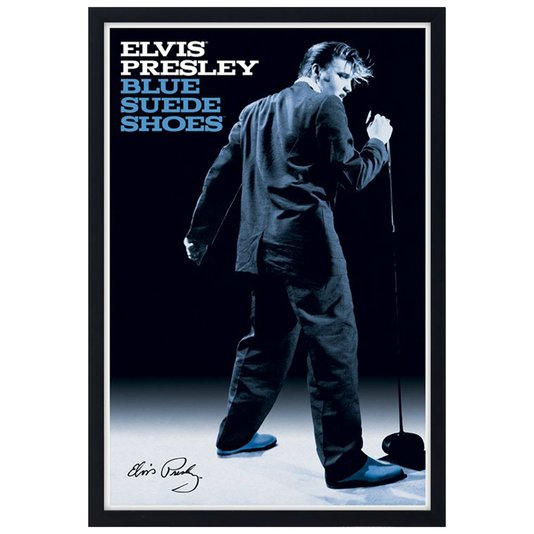 Quadro Decorativo Poster Elvis Presley Blue Suede Shoes s/ Vidro 60x90cm