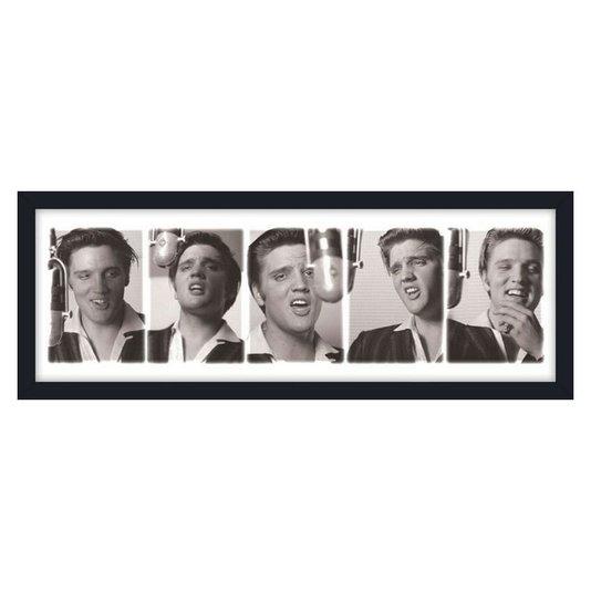 Quadro Decorativo Poster Elvis Presley Cantando em Estúdio s/ Vidro 90x30cm