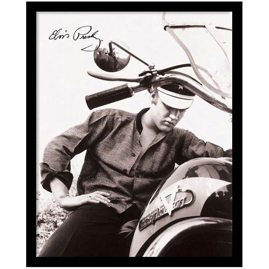 Quadro Decorativo Poster Elvis Presley e Sua Moto s/ Vidro 40x50cm