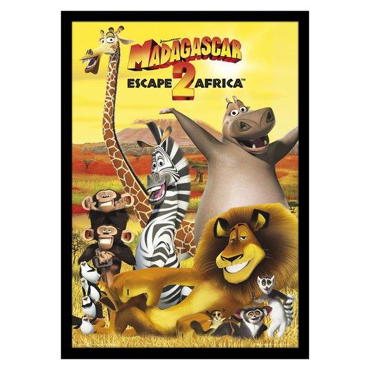 Quadro Decorativo Poster Emoldurado Filme Infantil Madagascar 60x90cm