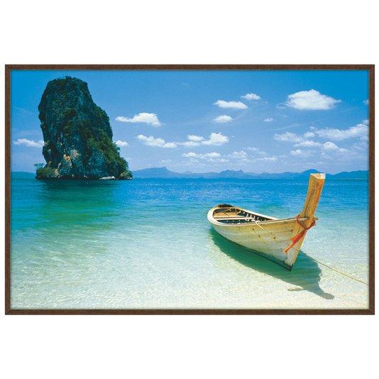 Quadro Decorativo Poster Emoldurado Praia Barco 90x60cm
