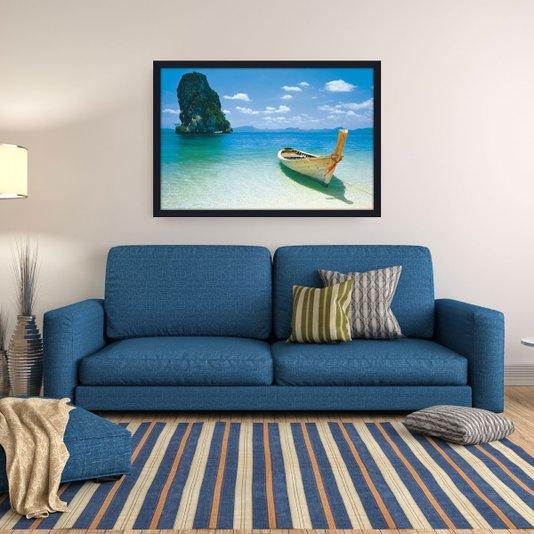 Quadro Decorativo Poster Emoldurado Praia Barco 94x64cm