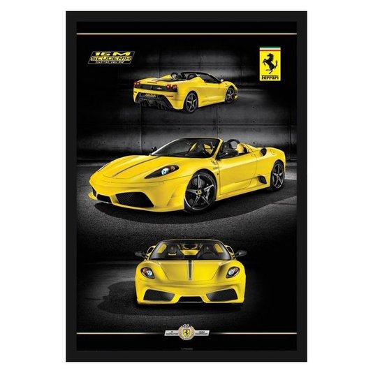 Quadro Decorativo Poster Ferrari Amarela 16m Scuderia s/ Vidro 60x90cm